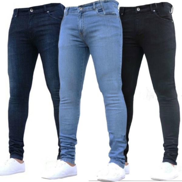 Mens tvättade jeans med rak ben Slim Fit Skinny Byxor Byxor Black S