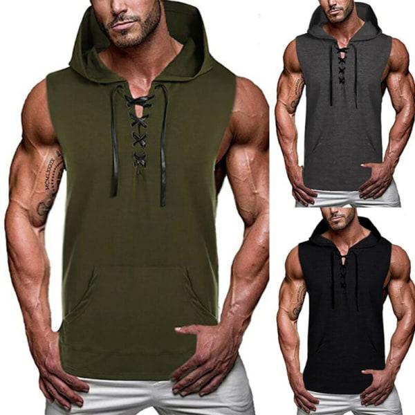 Sommart-t-shirtar för män Muscle Casual Sleeveled Hooded Slim Shirt Grey 2XL