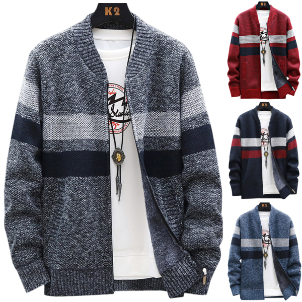 Mens tröja kappa randig stickad kofta Casual tröja utkläder Light Grey 2XL