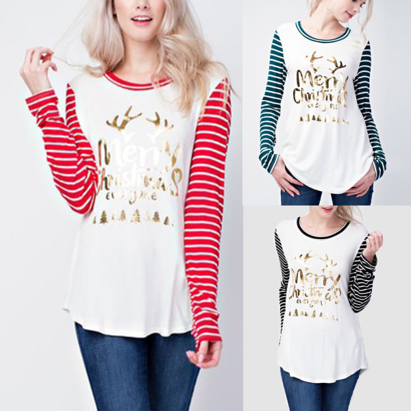 Merry Christmas Tunic Pullover T-shirt randiga blus toppar Red XL