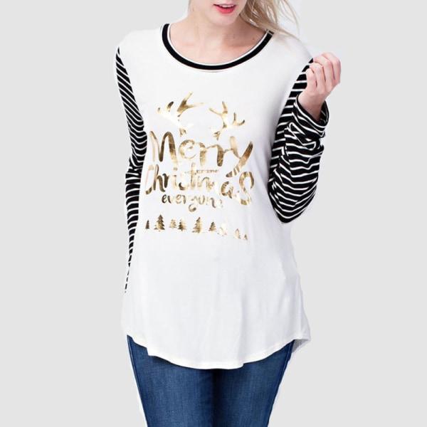 Merry Christmas Tunic Pullover T-shirt randiga blus toppar Black L