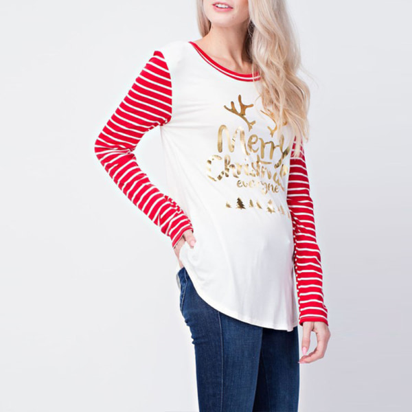 Merry Christmas Tunic Pullover T-shirt randiga blus toppar Red S