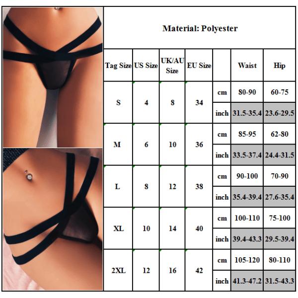 Mesh Transparent Sexiga trosor med korsremmar för kvinnor Black XL