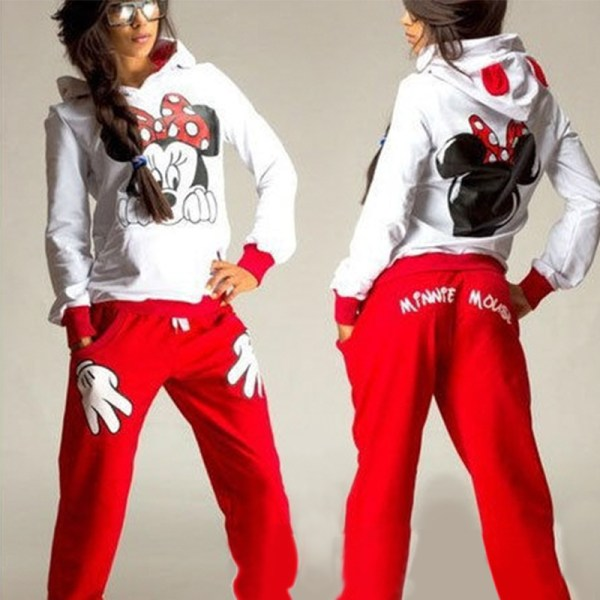 Mikey Mouse Kvinnor Lady Träningsoveraller Sets Top Pants Lounge Sets Red S