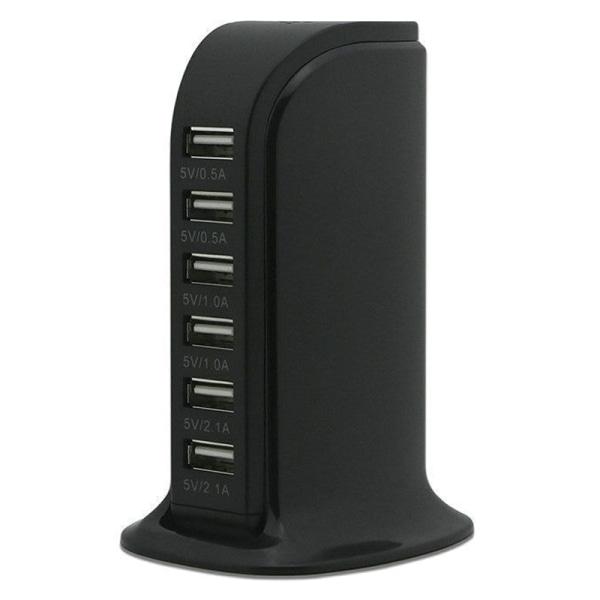 Sex portar laddare för flera enheter Smartphone surfplatta Black