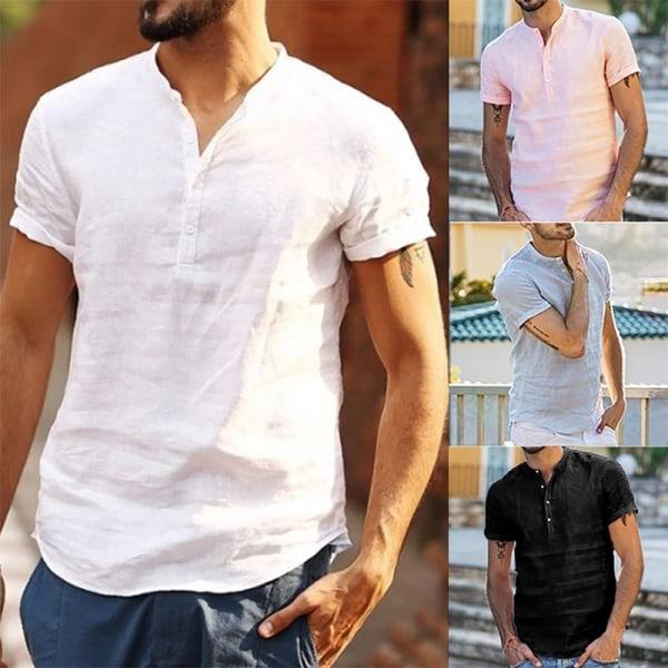 Nytt mode män knapp krage skjorta pink 2XL