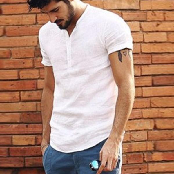 Nytt mode män knapp krage skjorta blue L