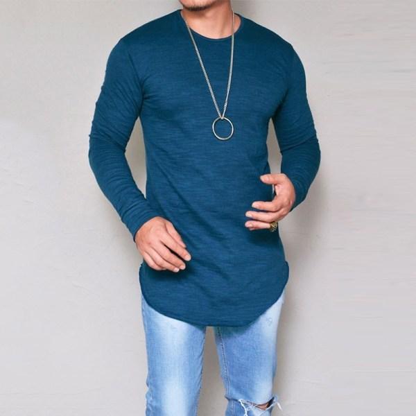 Nya långärmad tröja för män T grey S