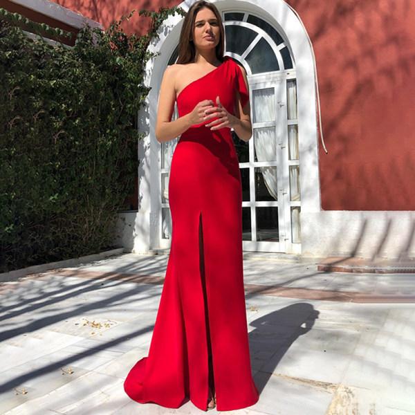 En axel elegant ärmlös klänning split klänning för sexiga kvinnor Red M