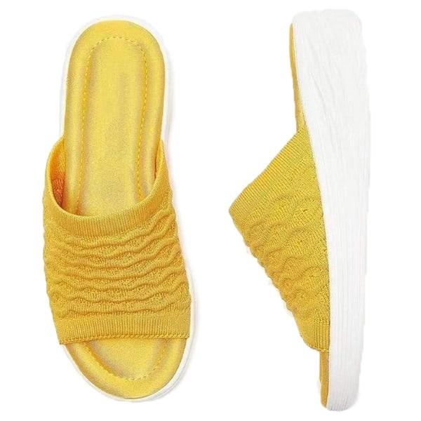 Utomhuskläder Enfärgade sömmar för tofflor för kvinnor Yellow 41