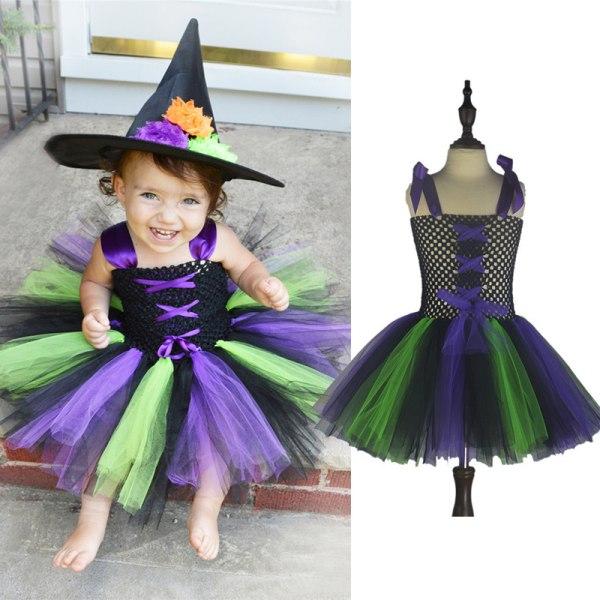 Party Cosplay Häxa Magisk Festklänning Axelbåge Flickor Gåvor Green+purple L