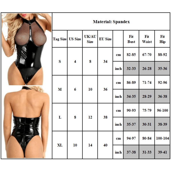 Patentläder Sexig Bodysuit Bekväm andningsbar för kvinnor Black XL