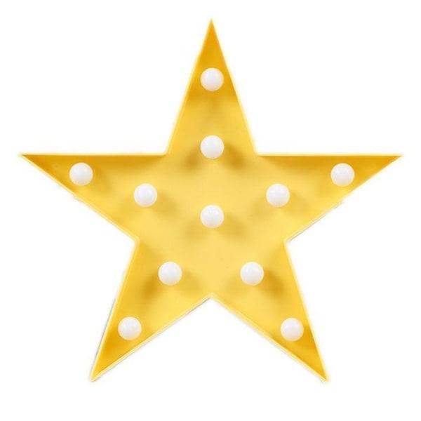 Pentagram LED-lampor hem kreativa nattljus barngåvor Yellow