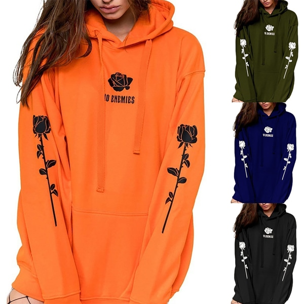 Plush Hooded Printed Tröja Casual Street för modekvinnor Orange XL