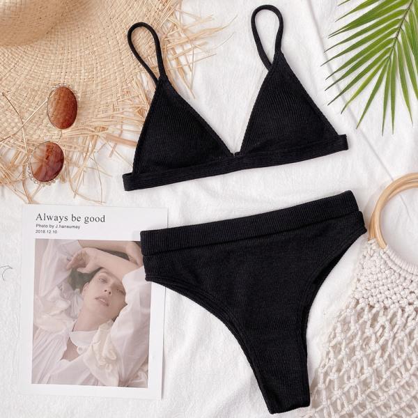 Pure Color High Waist Baddräkt Sexig Beach Bikini Snygga kvinnor Black L