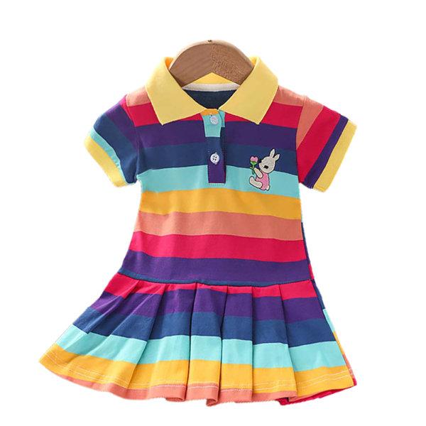 Rainbow Strip Lapel T-shirt med kort ärm Barn kjol As pics 90CM