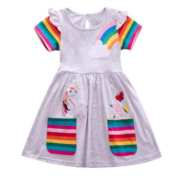 Rainbow Unicorn Girls Girls Kjolficka Söt sommarkjol Gray 5-6Y