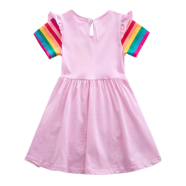 Rainbow Unicorn Girls Girls Kjolficka Söt sommarkjol Pink 6-7Y