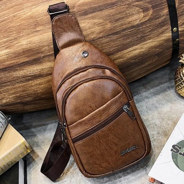 Retrostil Solid läder manlig casual Messenger coffee 29*16*7cm