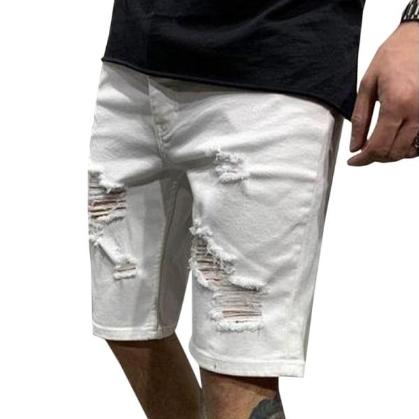 Rippade män Cargo Pants Denim Jeans White 3XL