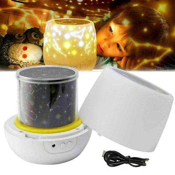 Roterande LED-ljusprojektor Babybarn Galaxy Star-lampa