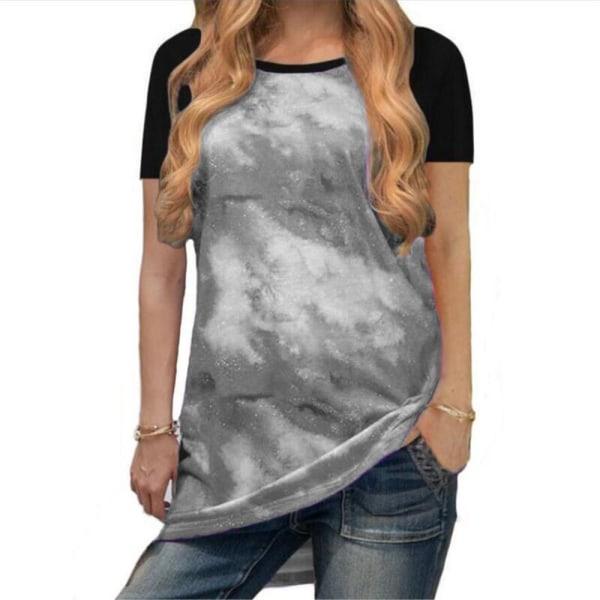Rundhals Andas Mode Casual korta ärmar för kvinnor Gray M