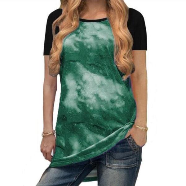 Rundhals Andas Mode Casual korta ärmar för kvinnor Green 2XL