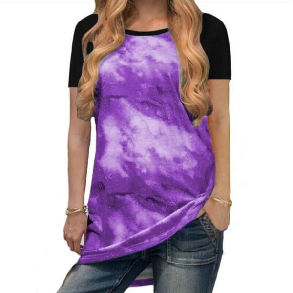 Rundhals Andas Mode Casual korta ärmar för kvinnor Purple 5XL