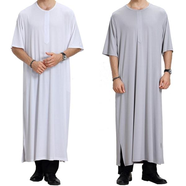 rund hals Casual Fit Thobe Abaya Robe - rund hals Casual Fit Th gray M