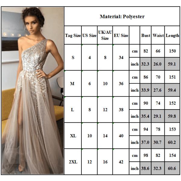 Sexig lutande axel smal klänning lång klänning för kvinnor elegant Apricot L