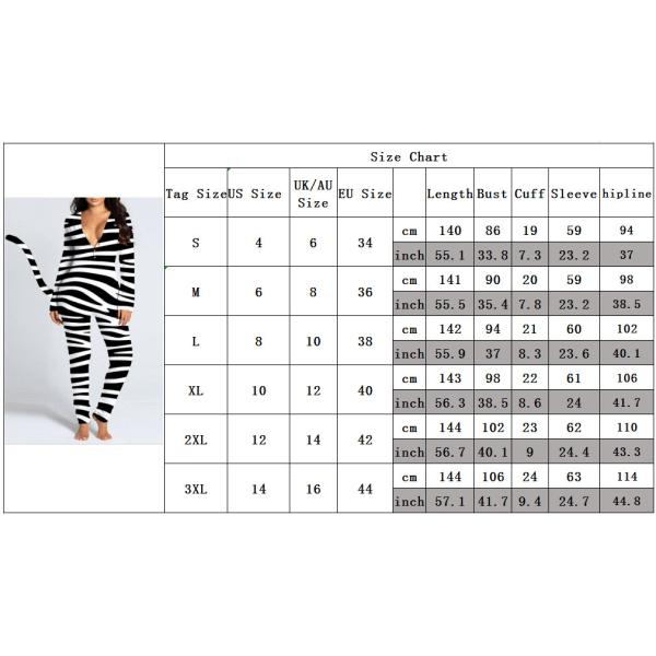 Sexig V-ringad Tryckt Långärmad Tail Jumpsuit Hem Kvinna Butterfly L