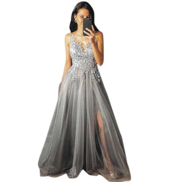 Sexig v-ringad ärmlös axelbandsklänning för eleganta kvinnor Gray XL