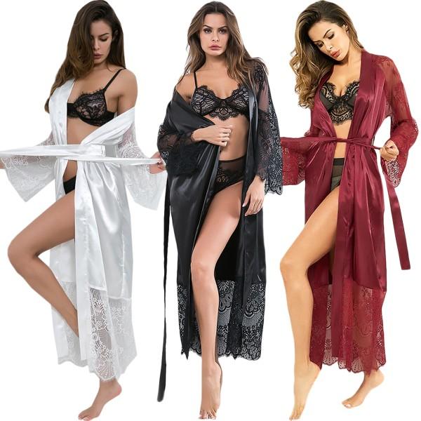 Mjuk och andningsbar Lady's Sexy Robe med Strappy Nightgown Black L