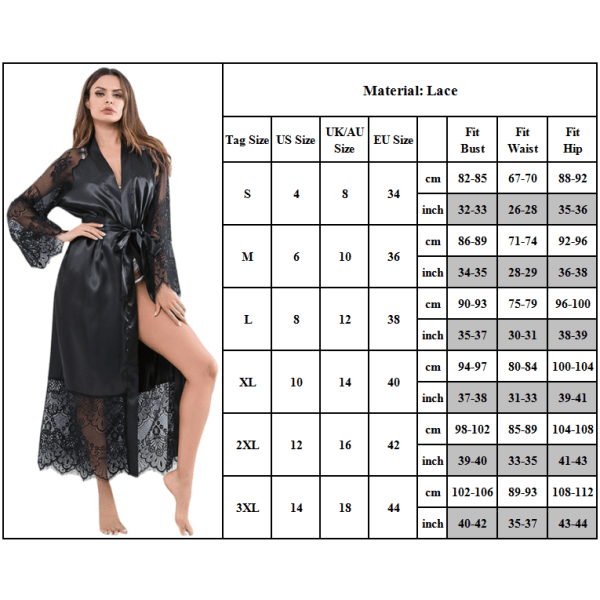 Mjuk och andningsbar Lady's Sexy Robe med Strappy Nightgown Wine red 3XL