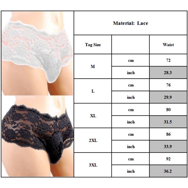 Mjuk elastiskhet Sexiga underbyxor för män halvtäckande underkläder Black 2XL