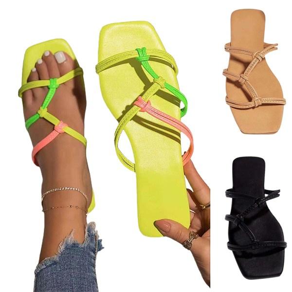 Enfärgade platta sandaler och tofflor för kvinnor Essentials Yellow 36