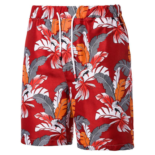 Sommar Herr Plus Size Casual Printed Five-point Beach Pants Red 4XL