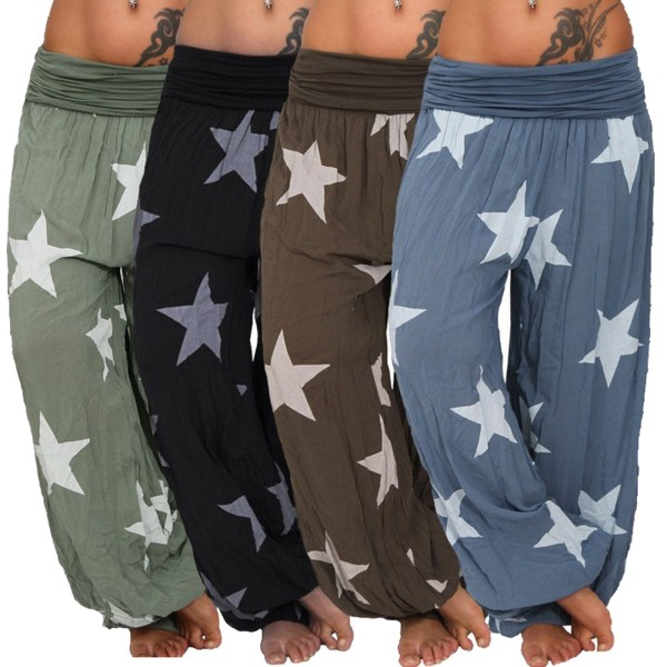 Star Print Harem Pants Casual Loose Home Byxor Mode Kvinnor Black S
