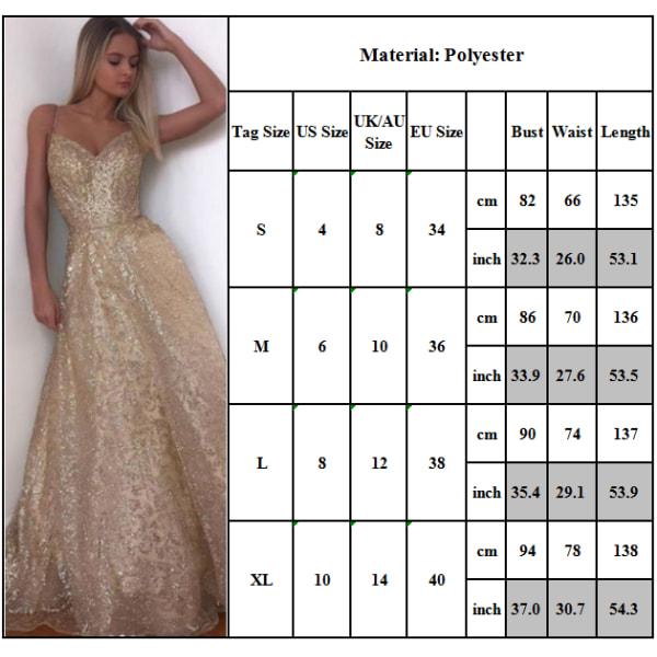 Snygg Deep V Sling Curbside Dress Golden för kvinnor Elegant Golden M