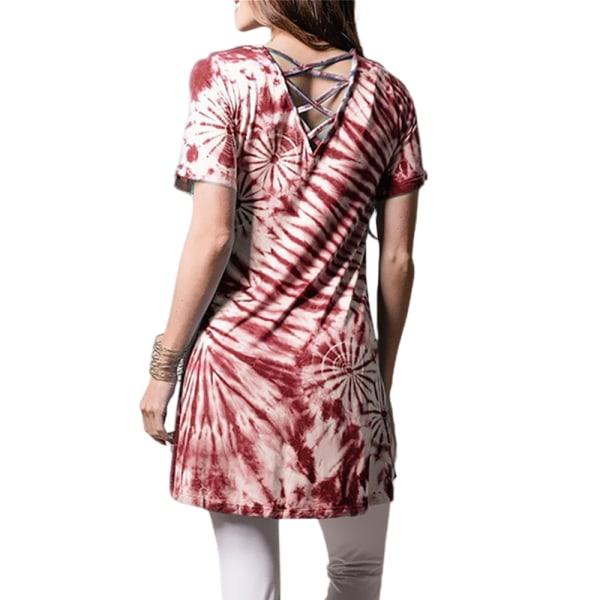 Snygg mellanlång rundhalsad T-shirt för kvinnor Wine red L