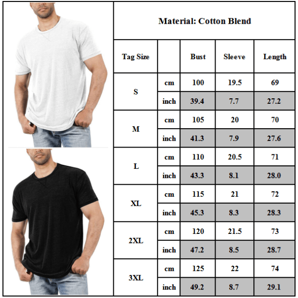 Snygg ren färg Enkel Casual Kortärmad T-shirt för män Black S