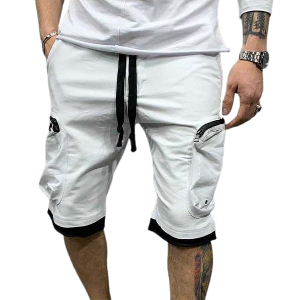 Snygg enfärgad sportfortshorts med flera fickor för män White L