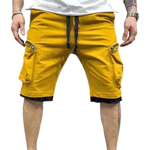 Snygg enfärgad sportfortshorts med flera fickor för män Yellow L