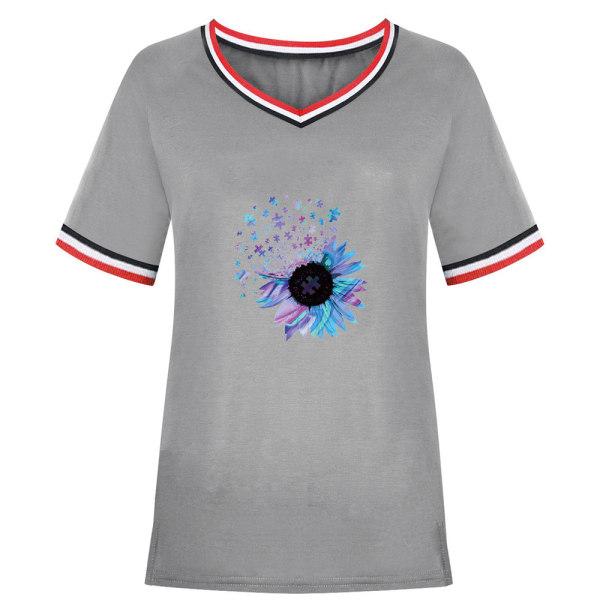Snygg sommar dam T-shirt med V-ringning och solros Gray 2XL