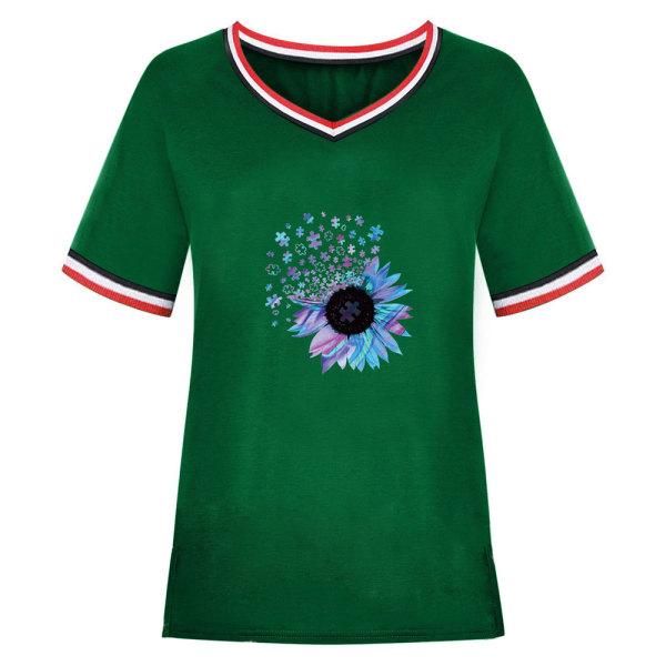 Snygg sommar dam T-shirt med V-ringning och solros Green M