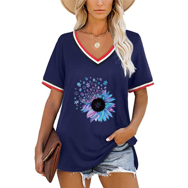 Snygg sommar dam T-shirt med V-ringning och solros Navy blue M