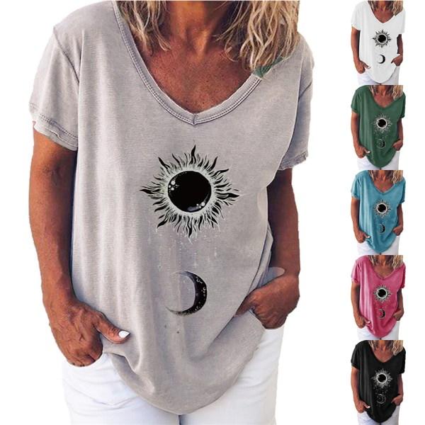 Snygg Sun Moon Print V-ringad kortärmad T-shirt för kvinnor Blue XL