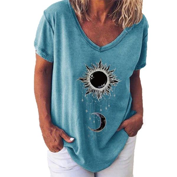 Snygg Sun Moon Print V-ringad kortärmad T-shirt för kvinnor Blue L