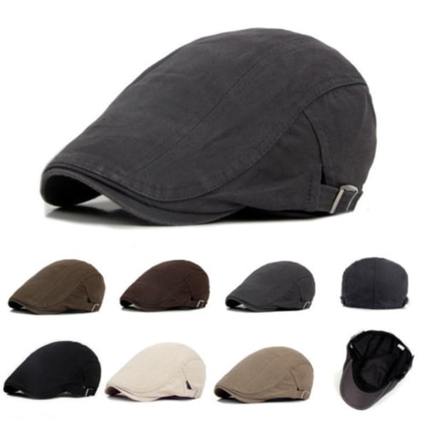 Snygg tunn Newsboy hattknapp Justerbar enfärgad herr Deep khaki