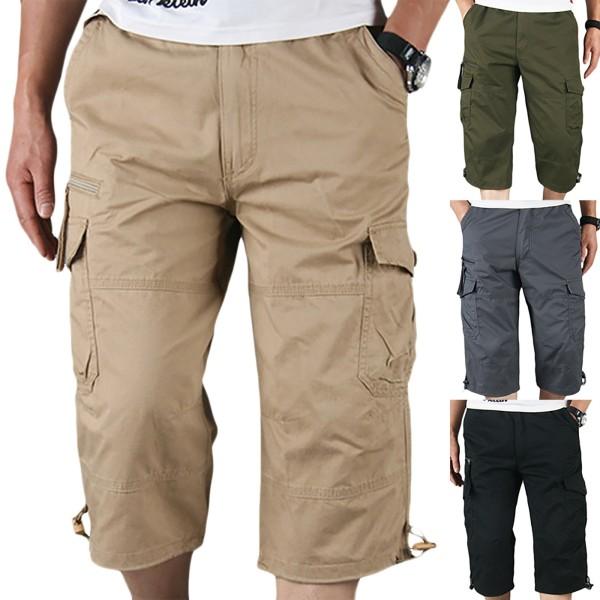 Sommar män fritid shorts med flera fickor khaki 3XL
